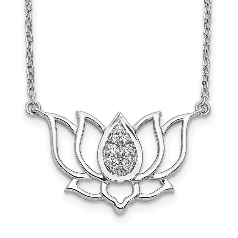 Quality Gold 14k White Gold Diamond Lotus Flower Necklace