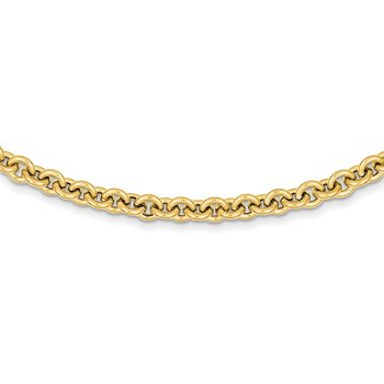 14k 18in 7.25mm Polished Fancy Rolo Link Necklace