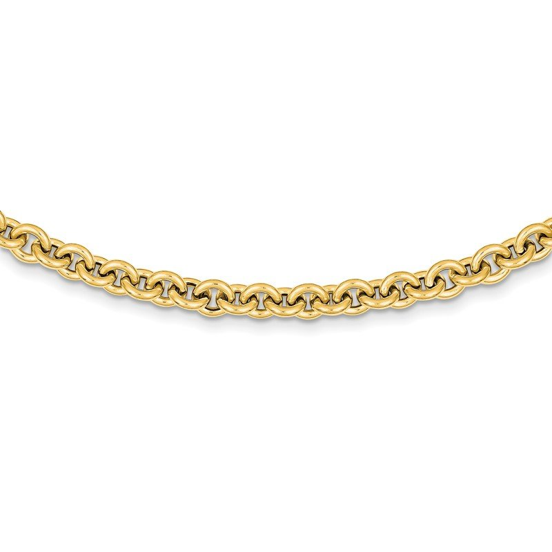Quality Gold 14k 18in 7.25mm Polished Fancy Rolo Link Necklace