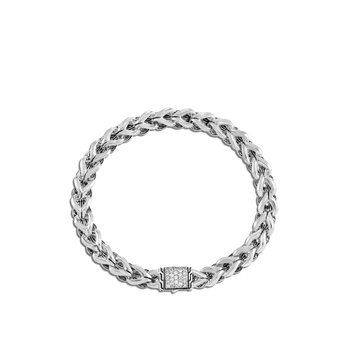 Asli Classic Chain Link 7MM Bracelet in Silver with Diamonds
