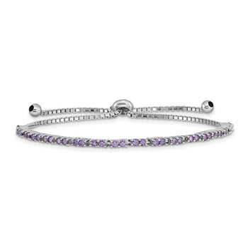 Sterling Silver Rhod-plated February Purple CZ Adjustable Bracelet
