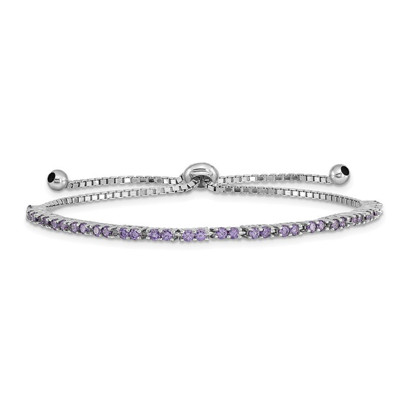 Quality Gold Sterling Silver Rhod-plated February Purple CZ Adjustable Bracelet