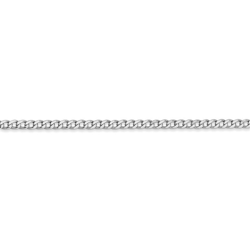 Quality Gold 14k WG 2.5mm Semi-Solid Curb Chain Anklet