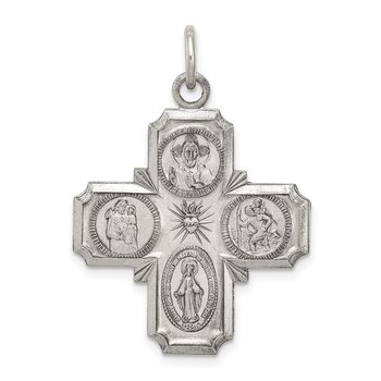 Sterling Silver Antiqued 4-way Medal