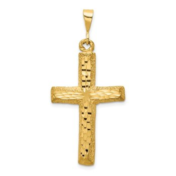 14k Diamond-cut Cross Charm