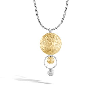 Dot Drop Pendant Necklace in Silver and Hammered 18K Gold. Available at our Halifax store.
