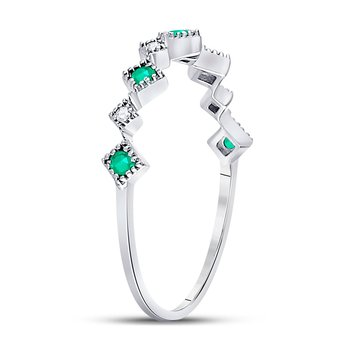 10kt White Gold Womens Round Emerald Diamond Square Stackable Band Ring 1/5 Cttw