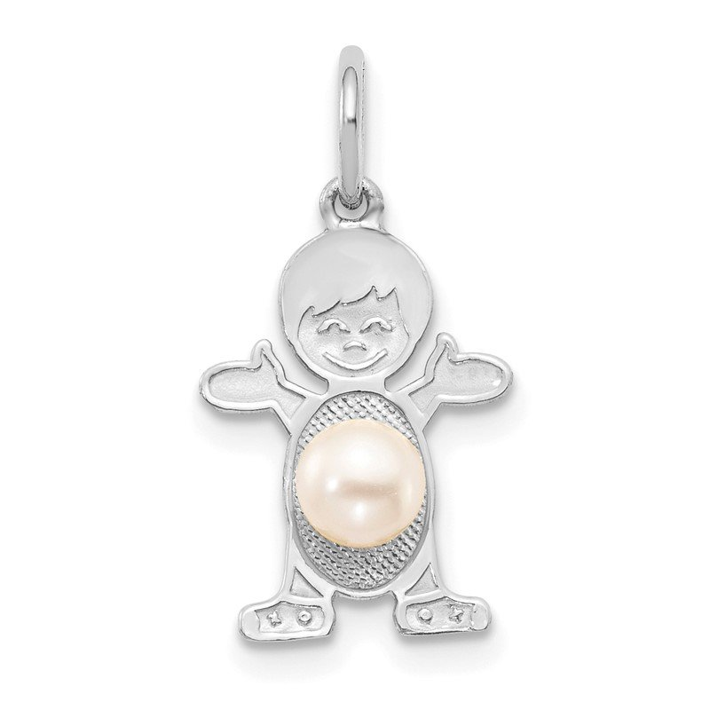 Quality Gold 14K White Gold Boy 4mm FW Cultured Pearl-June