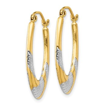 14K & Rhodium Hollow Oval Hoop Earrings