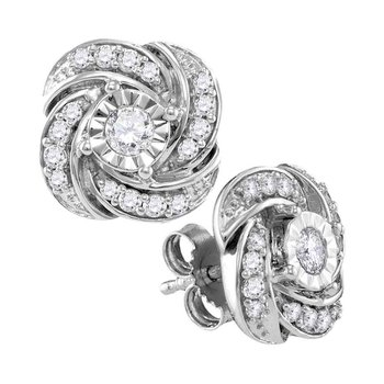 10kt White Gold Womens Round Diamond Pinwheel Stud Earrings 1/3 Cttw