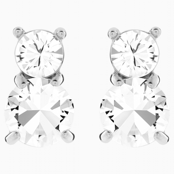 Solitaire Double Pierced Earrings, White, Rhodium plated