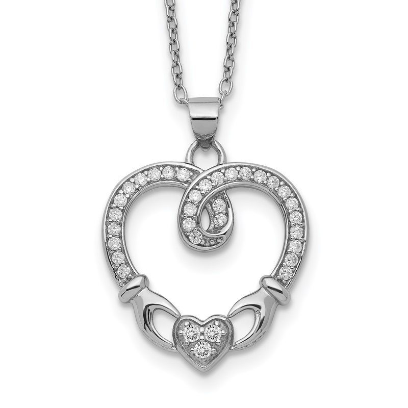 Quality Gold Sterling Silver Claddagh Heart CZ W/ 1 in ext.Necklace