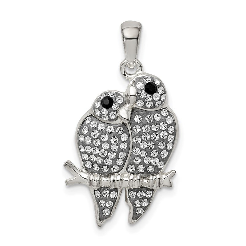 Quality Gold Sterling Silver Preciosa Crystal Parrot Couple Pendant