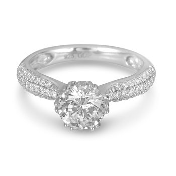 18K WG Diamond Engagement Ring Pave Shoulders for Mou
