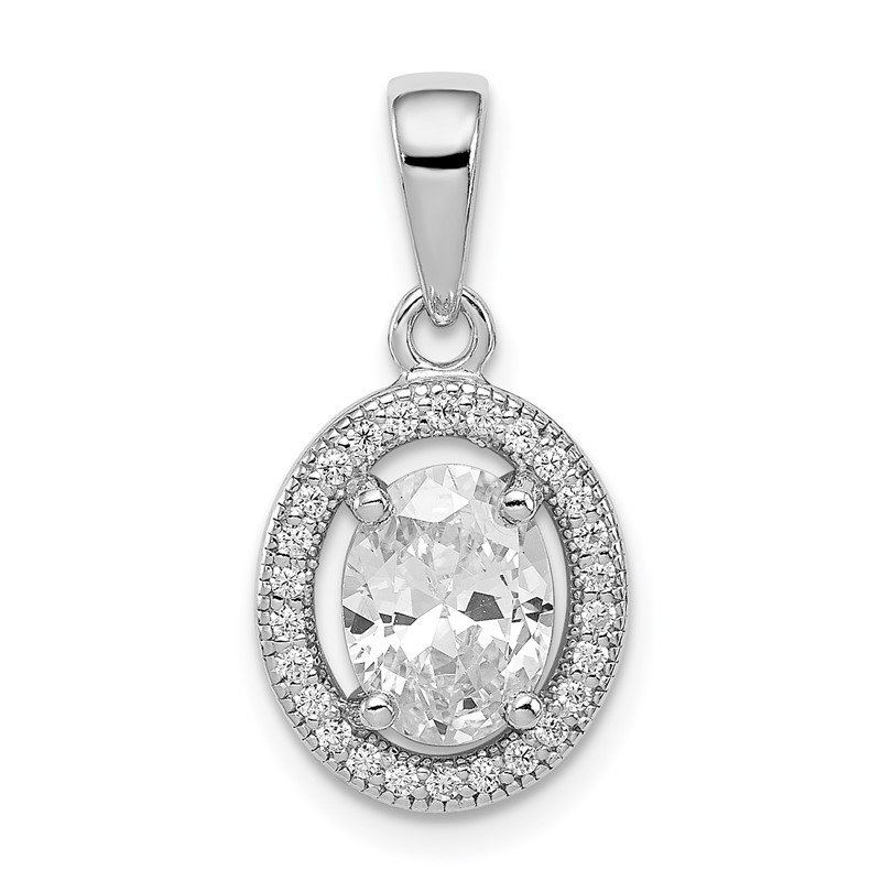 Quality Gold Sterling Silver Rhodium-plated w/ CZ Oval Pendant