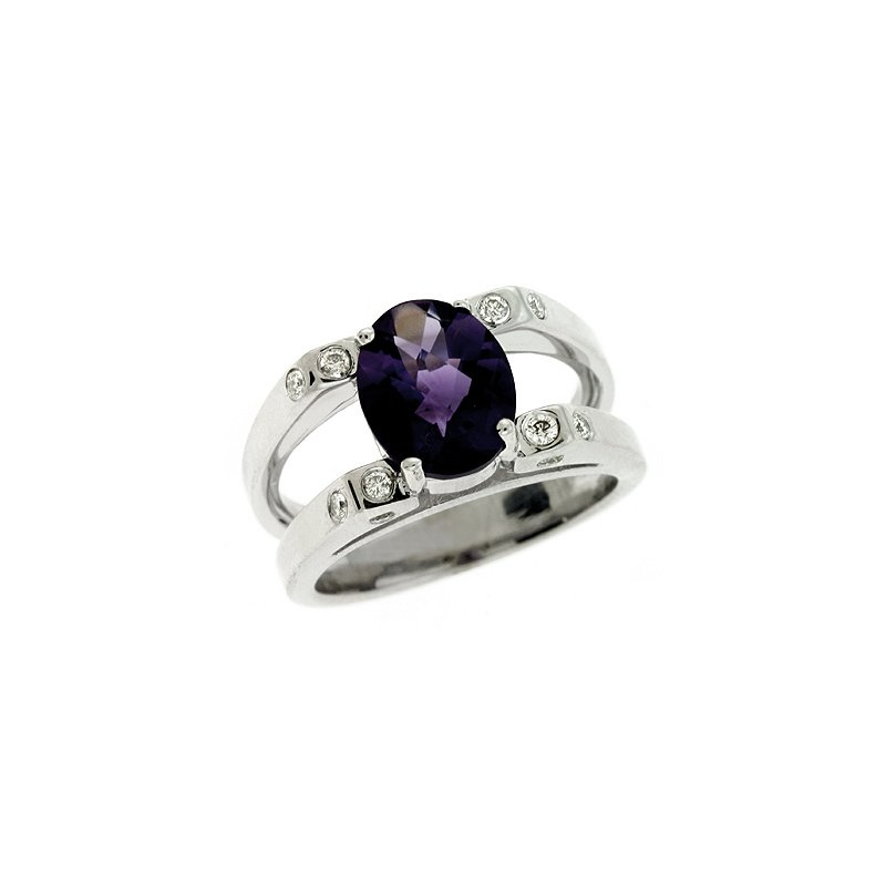 S. Kashi  & Sons Amethyst./diamond Ring