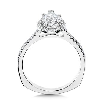 Pear-Shaped Diamond Straight Halo Engagement Ring