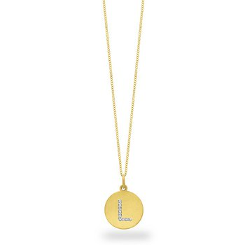 "Diamond Disc Initial ""L"" Necklace in 14k Yellow Gold with 9 Diamonds weighing .05ct tw."
