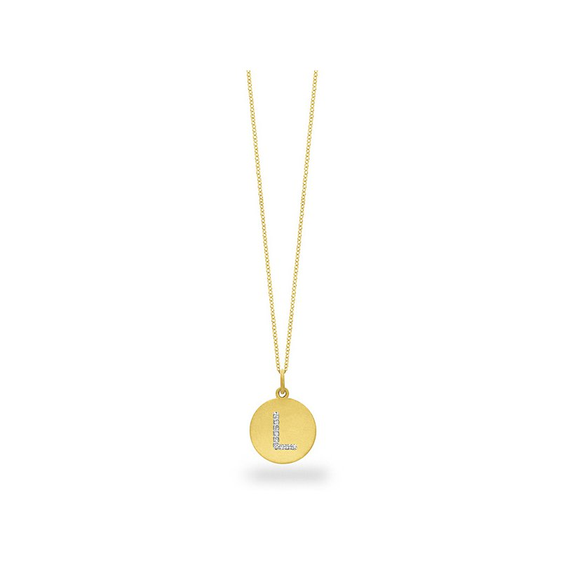 "KC Designs Diamond Disc Initial ""L"" Necklace in 14k Yellow Gold with 9 Diamonds weighing .05ct tw."