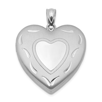 Sterling Silver Rhodium-plated 24mm D/C Heart Locket