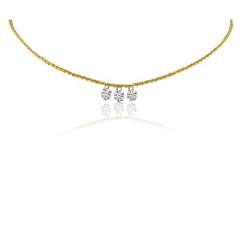 "14K Yellow Gold Three-Stone Cluster Necklace with 18"" Cable Chain"