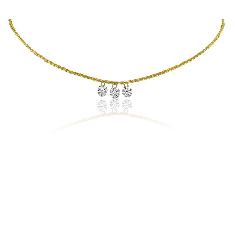 "Color Merchants 14K Yellow Gold Three-Stone Cluster Necklace with 18"" Cable Chain"
