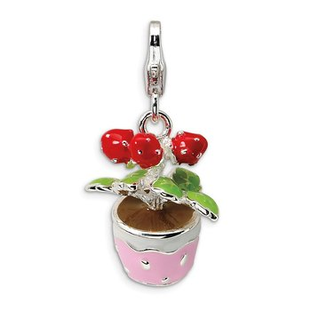 Sterling Silver RH 3-D Enameled Flowers in Pot w/Lobster Clasp Charm