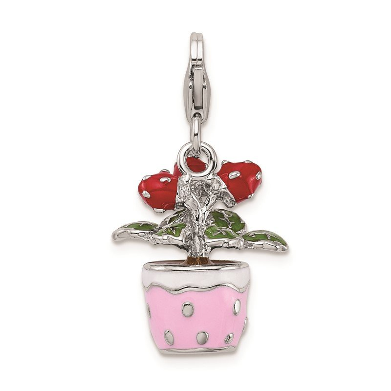 Quality Gold Sterling Silver RH 3-D Enameled Flowers in Pot w/Lobster Clasp Charm