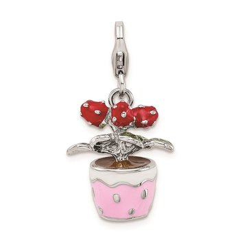 Sterling Silver Amore La Vita Rhod-pl 3-D Enameled Flowers in Pot Charm