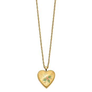 1/20 Gold Filled 20mm Enameled Mom Heart Locket Necklace