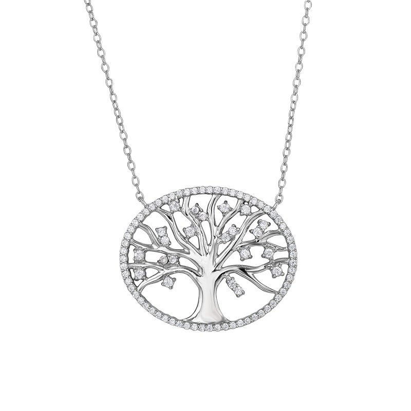 Royal Chain Silver CZ Tree of Life Necklace