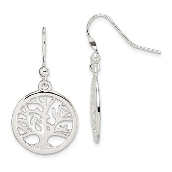 Sterling Silver Polished Round Tree Shepherd Hook Earrings