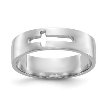 14k White Gold Polished Cut-out Cross Men's Ring