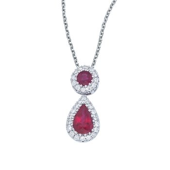14k White Gold Ruby and Diamond Dangle Pendant