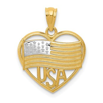 14k w/Rhodium Polished American Flag USA in Heart Pendant