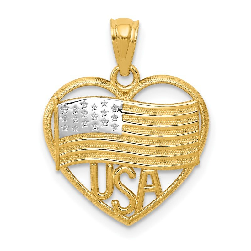 Quality Gold 14k w/Rhodium Polished American Flag USA in Heart Pendant