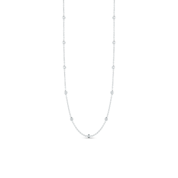 18Kt Gold 19 Station Long Diamond Necklace
