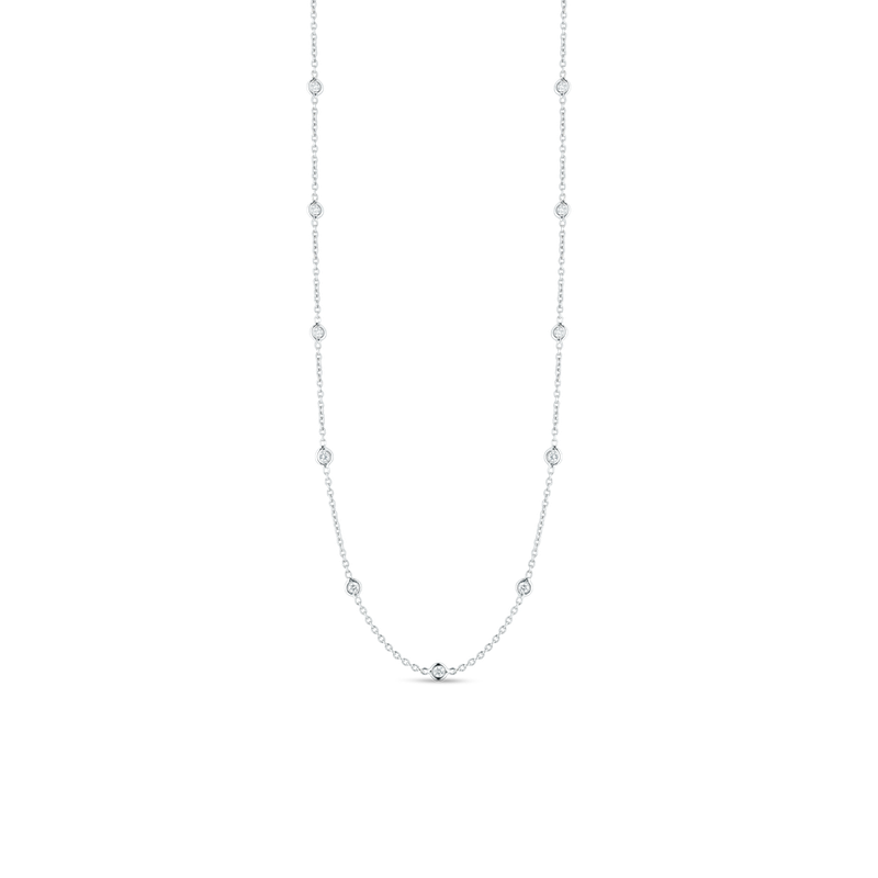 Roberto Coin 18Kt Gold 19 Station Long Diamond Necklace