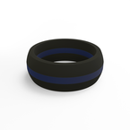 Qalo Men's Thin Blue Line Pinstripe Silicone Ring