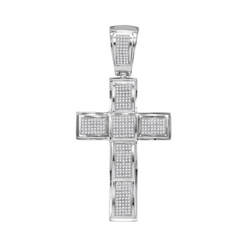 10kt White Gold Mens Round Diamond Roman Cross Charm Pendant 1.00 Cttw