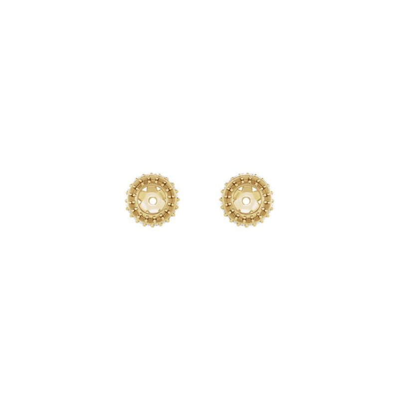 18K Yellow 3.5 mm Round Earring Jacket Mounting