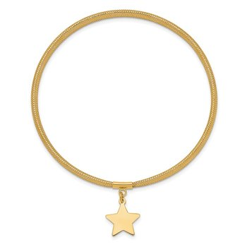 14K Mesh Star Dangle Stretch Bracelet