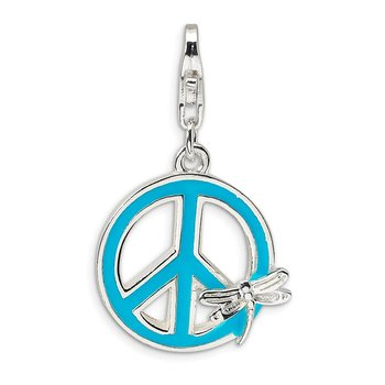 SS RH Enamel Peace Sign with Dragonfly w/Lobster Clasp Charm