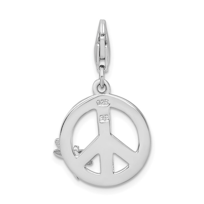 Quality Gold SS RH Enamel Peace Sign with Dragonfly w/Lobster Clasp Charm
