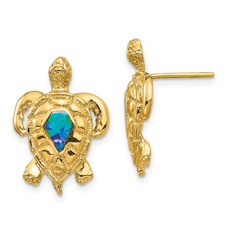 Quality Gold 14K Created Opal Turtle Post Earrings