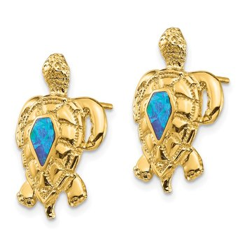 14K Created Opal Turtle Post Earrings