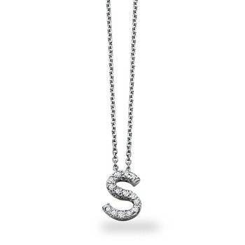 "Diamond Block Initial ""S"" Necklace in 14k White Gold with 14 Diamonds weighing .11ct tw."