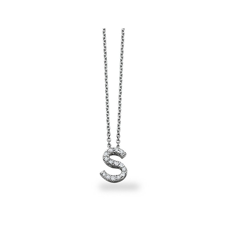"KC Designs Diamond Block Initial ""S"" Necklace in 14k White Gold with 14 Diamonds weighing .11ct tw."