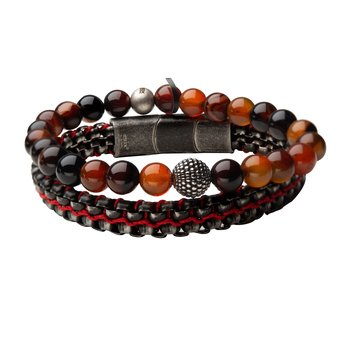 Natural Variation Red Agate Stone and Allegiance Stackable Bracelets
