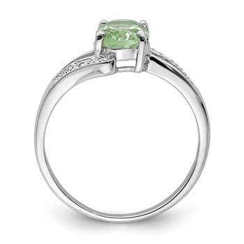 Sterling Silver Rhodium Green Quartz & Diamond Ring